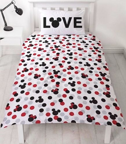 "Official Disney Mickey & Minnie Mouse Beyond ""Reversible"" Single Duvet Cover Bedding Set"
